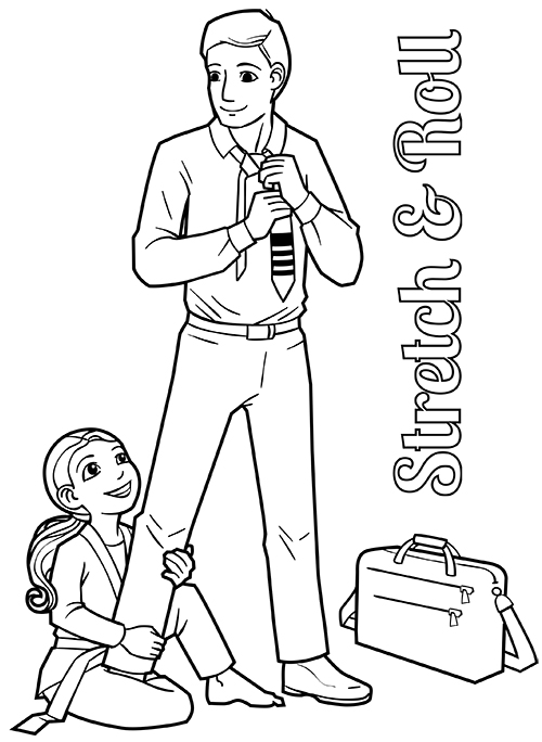 Man in business clothes, little girl in gi