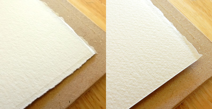 font and back of watercolor paper compared.