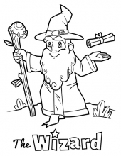 Wizard with staff and scroll