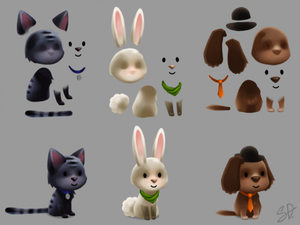 Animal friends, separate layers for import into animation software
