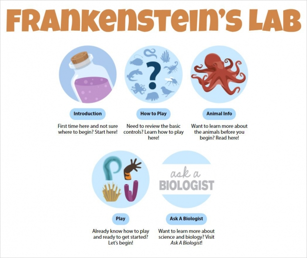 Frankenstein's Lab, main page