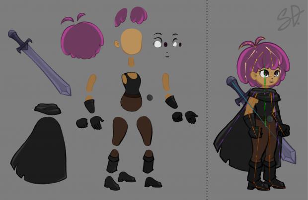 Hero character parts breakdown and bone rigging