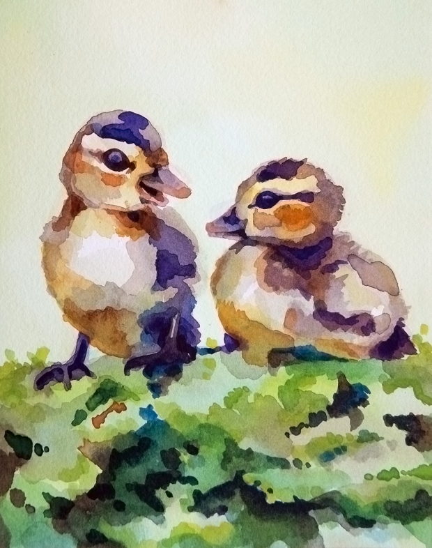 Postcard-sized watercolor painting of two baby ducks.