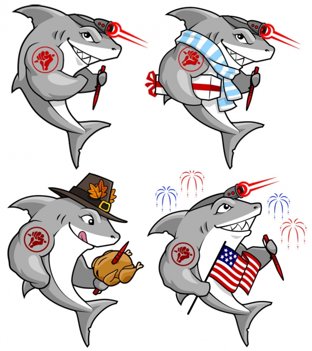 <em>Tuff-Writer</em> Sharks: Original (top left), Winter holiday (top right), Thanksgiving (lower left) and 4th of July (lower right)