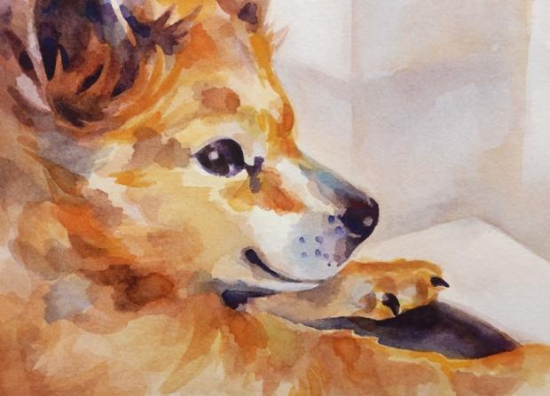 Pet portrait, postcard-sized watercolor painting of Gidget.