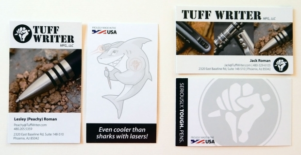 <em>Tuff-Writer</em>: Two different business card styles