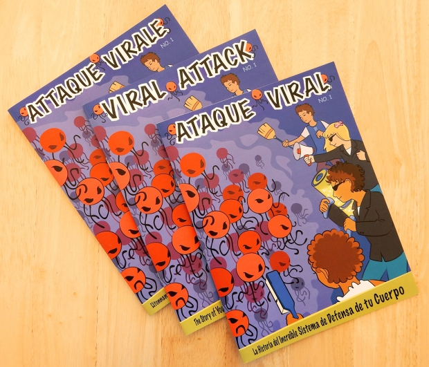 Viral Attack cover. The story packet was made available in English, Spanish and French.