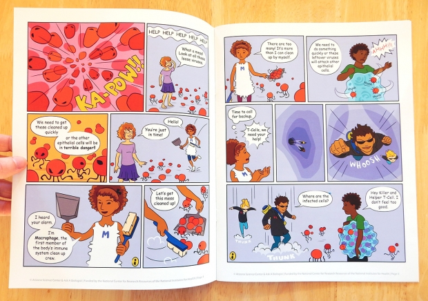 The first half of the packet is a comic book style story of the human immune system.