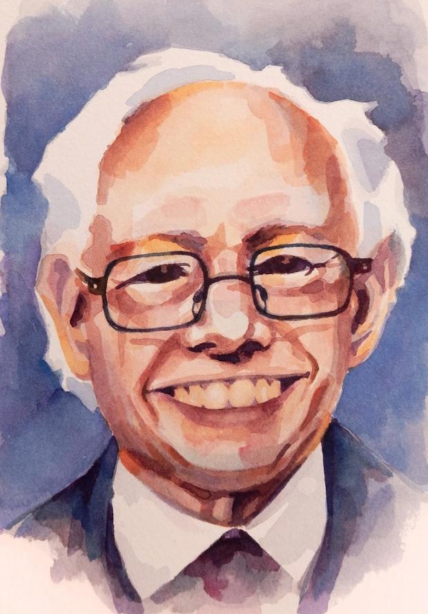 Postcard-sized watercolor painting of Bernie Sanders.