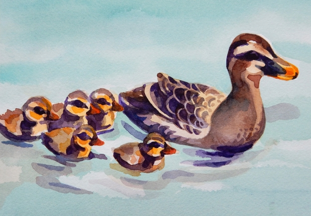 Postcard-sized watercolor painting of a duck family.