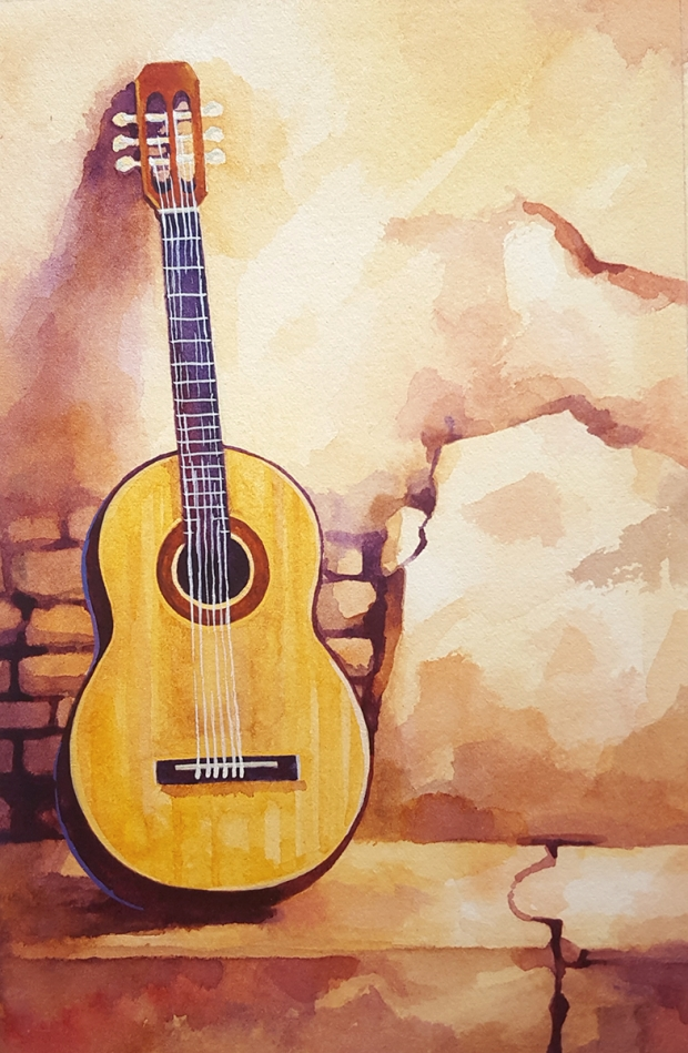 Postcard-sized watercolor painting an acoustic guitar.