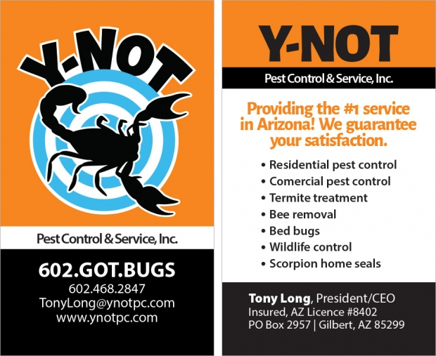 Y-Not Pest Control: Business card, front and back