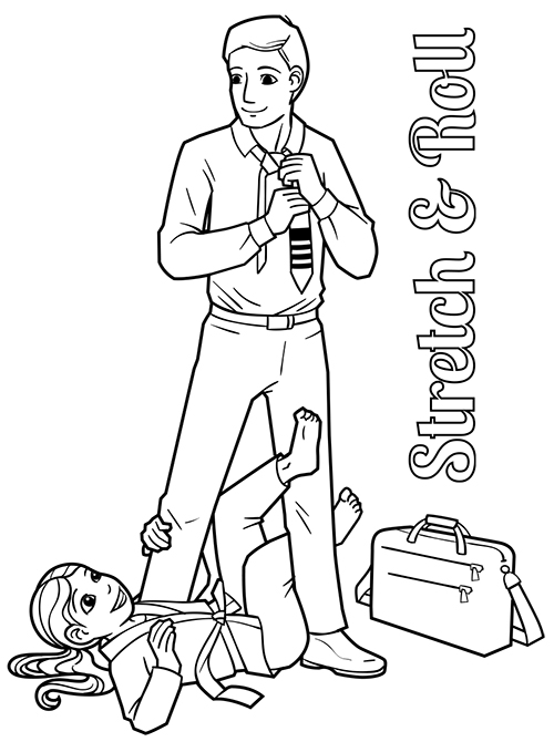 Man in business clothes, little girl in gi practicing x-guard BJJ technique