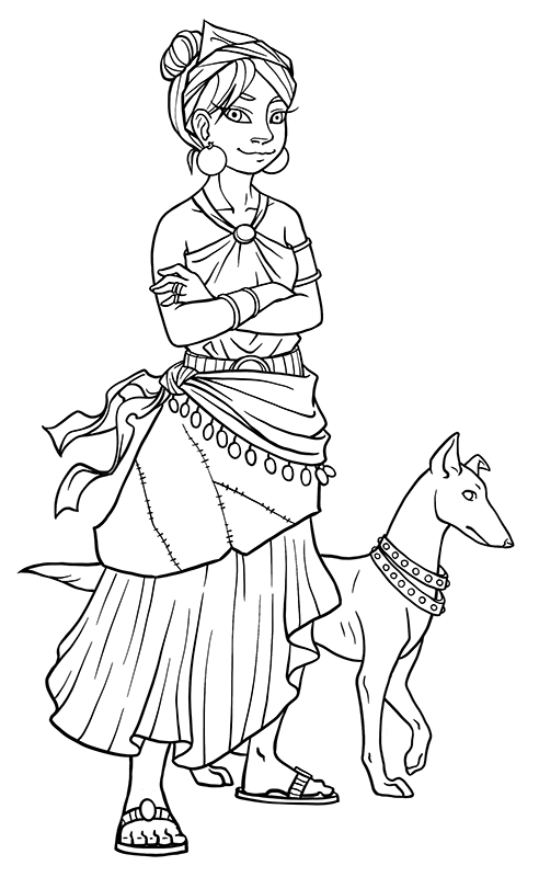 Girl in skirts with dog