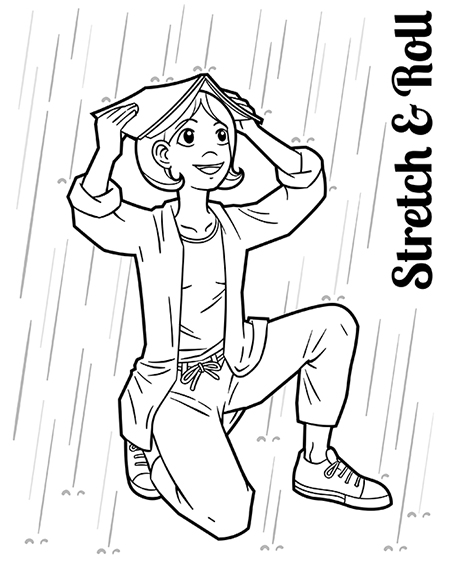 Girl caught in the rain using a magazine to cover her head.