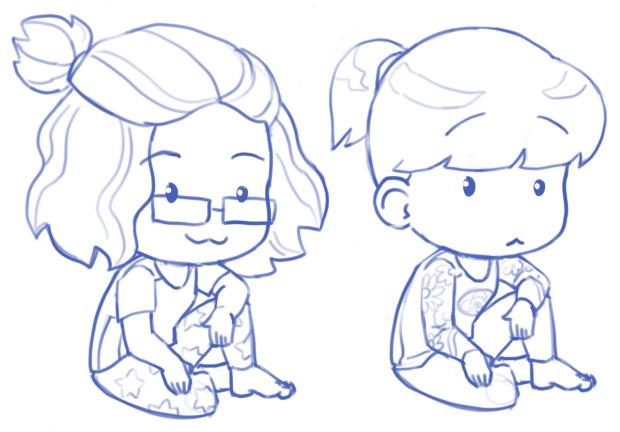 Chibi avatar illustrations: preliminary sketch