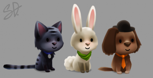 Animal friends with collar, bandana, tie and hat items