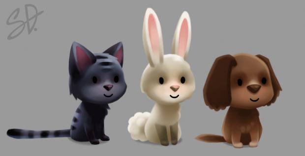 Animal friends: cat, rabbit and dog