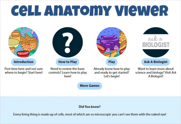 Cell Anatomy Viewer, main page