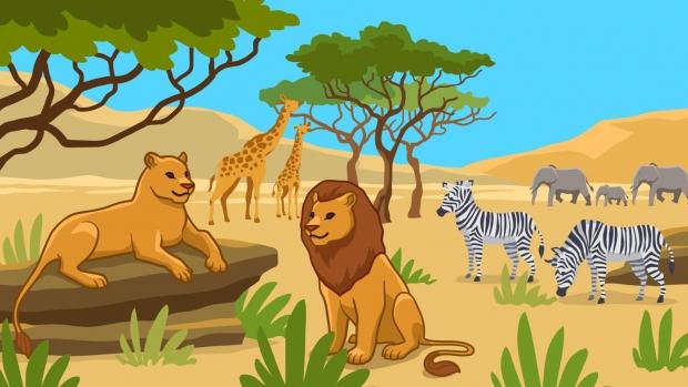 Fun Science Toons, a savanna full of wildlife