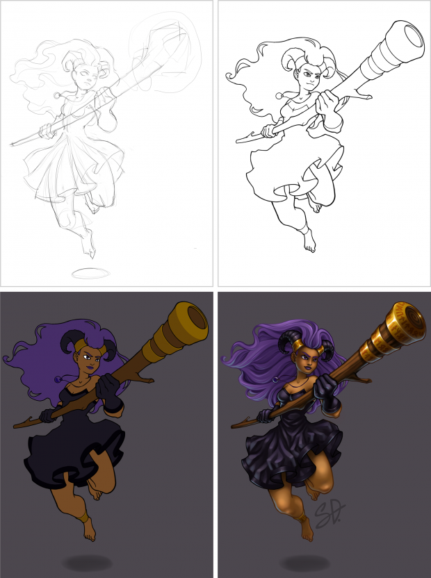 Digital painting of druid, stages in the drawing process: sketch, line art, flat colors, final image
