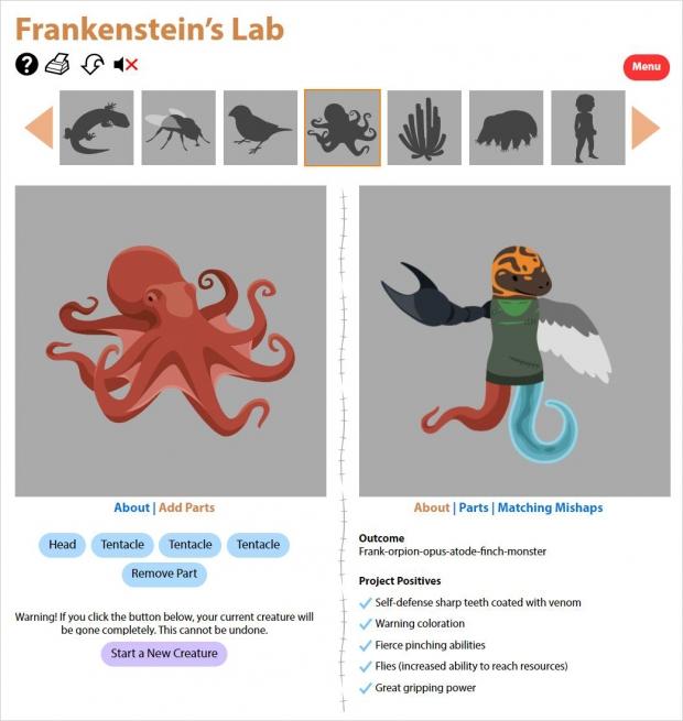 Frankenstein's Lab, simulation page