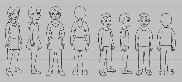 Fun Science Toons, character sheet for siblings Maria and Manny