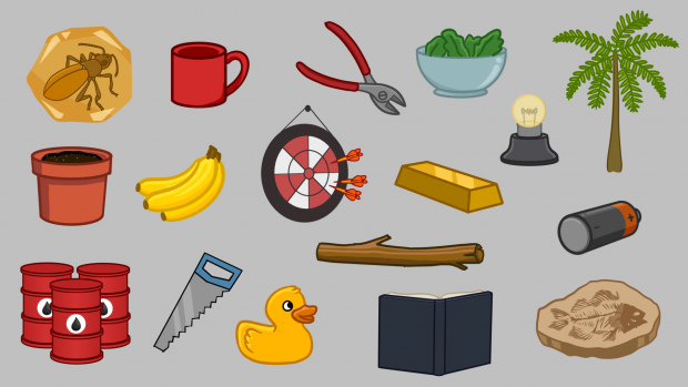 Fun Science Toons, assorted illustrated items
