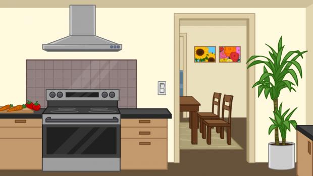 Fun Science Toons, kitchen scene background