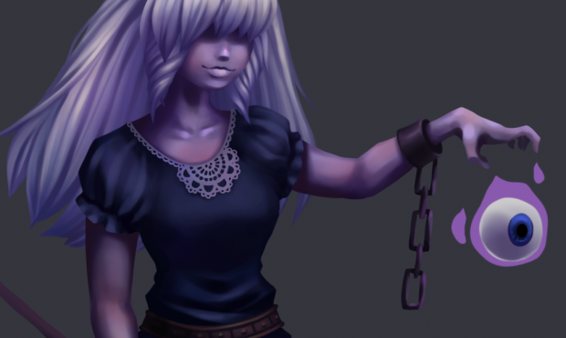 Digital painting of ghost character, closer view of details.