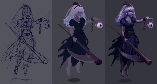 Digital painting of ghost character, stages in the drawing process: sketch, flat colors, final image
