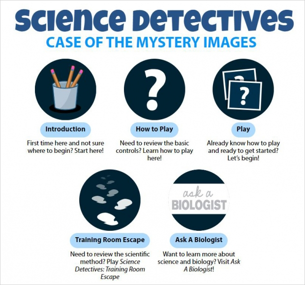 Science Detectives: Case of the Mystery Images, main page