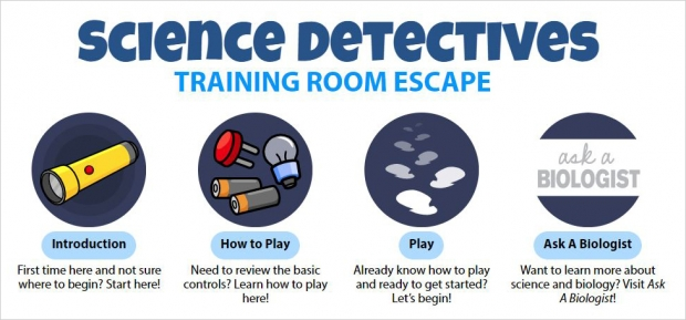 Science Detectives: Training Room Escape, main page