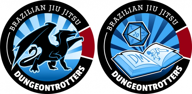 BJJ Dungeontrotters designs: player patch (left), dungeonmaster patch (right)