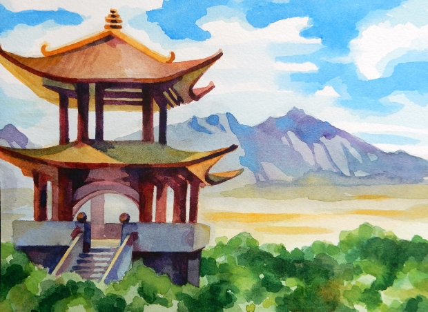 Postcard-sized watercolor painting a Japanese landscape.