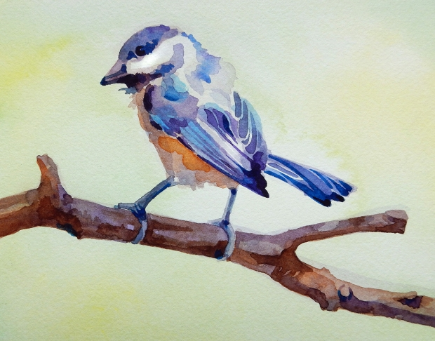 Postcard-sized watercolor painting of a bird.