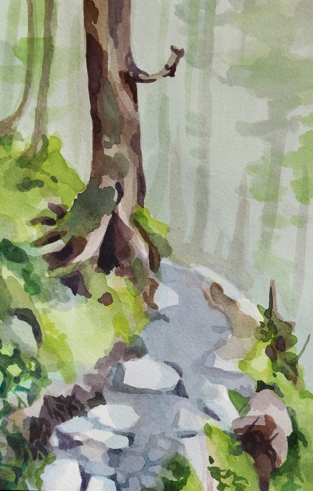 Postcard-sized watercolor painting of a forest path.